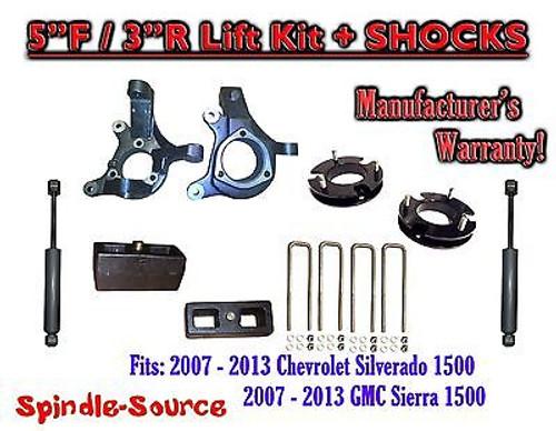 "2007 - 13 Chevy Silverado GMC Sierra 1500 5"" inch / 3"" Spindle LIFT KIT + SHOCKS"