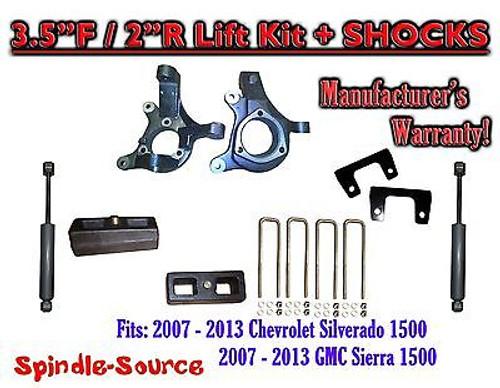 "2007 - 13 Chevy Silverado GMC Sierra 1500 3.5"" / 2"" Spindle LIFT KIT + SHOCKS"