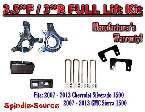 "2007 - 13 Chevy Silverado GMC Sierra 1500 3.5"" inch / 3"" Spindle LIFT KIT 2WD"