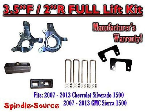"2007 - 13 Chevy Silverado GMC Sierra 1500 3.5"" inch / 2"" Spindle LIFT KIT 2WD"