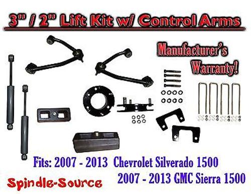 "2007 - 13 Chevy Silverado GMC Sierra 1500 3"" / 2"" CONTROL ARM LIFT KIT + SHOCKS"