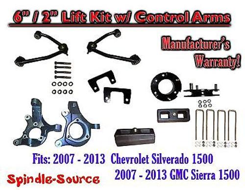 "2007 - 13 Chevy Silverado GMC Sierra 1500 6"" / 2"" Spindle Lift KIT Control Arms"