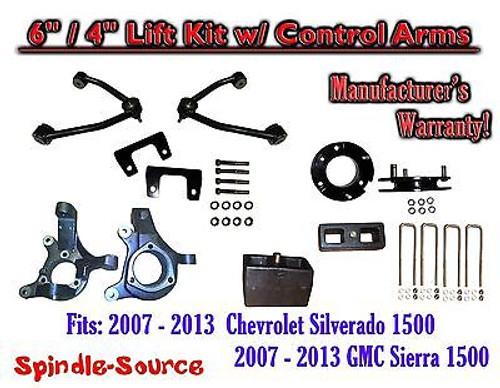 "2007 - 13 Chevy Silverado GMC Sierra 1500 6"" / 4"" Spindle Lift KIT Control Arms"