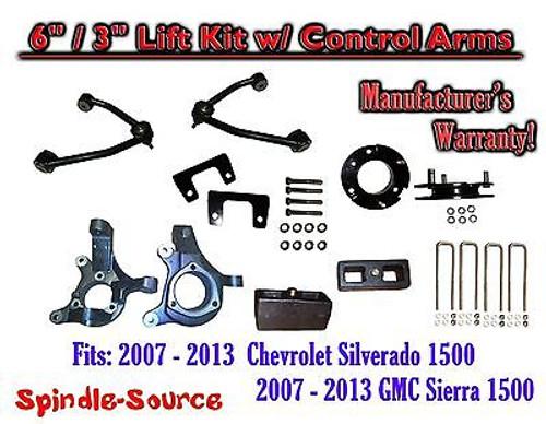 "2007 - 13 Chevy Silverado GMC Sierra 1500 6"" / 3"" Spindle Lift KIT Control Arms"