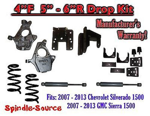 """2007 - 13 Chevy Silverado GMC Sierra 1500 V8 4/5"""" or 4/6 DROP KIT Coil + SHOCKS"""