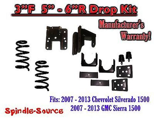 "2007 - 13 Chevy Silverado GMC Sierra 1500 V8 3/5"" 3/6"" DROP KIT Flip Coil Hanger"