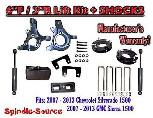 "2007 - 13 Chevy Silverado GMC Sierra 1500 6"" / 3"" Spindle FULL LIFT KIT + SHOCKS"
