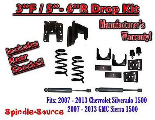 """2007 - 13 Chevy Silverado GMC Sierra 1500 V8 3/5"""" - 3/6"""" DROP KIT Coil SHOCKS"""