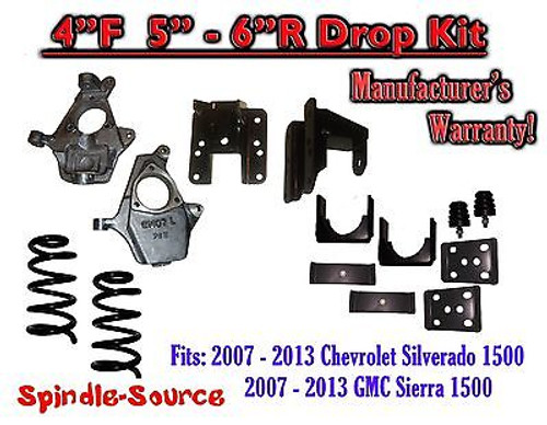 "2007 - 13 Chevy Silverado GMC Sierra 1500 V8 4/5"" 4/6"" DROP KIT Flip Coil Hanger"