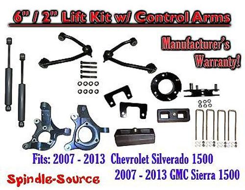 "2007 - 13 Chevy Silverado GMC Sierra 6"" / 2"" Spindle Lift Control Arms + SHOCKS"