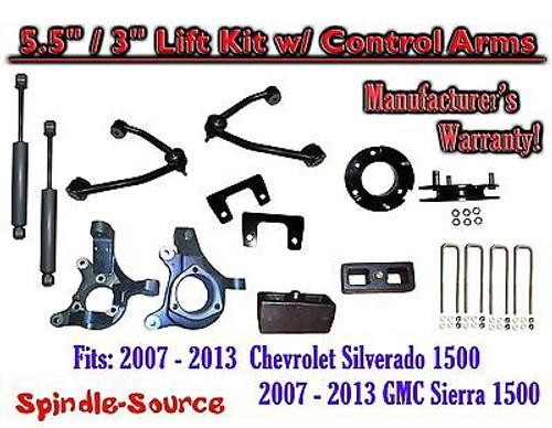 "2007 - 13 Chevy Silverado GMC Sierra 5.5"" / 3"" Spindle Lift Control Arms SHOCKS"
