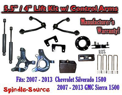"2007 - 13 Chevy Silverado GMC Sierra 5.5"" / 4"" Spindle Lift Control Arms SHOCKS"