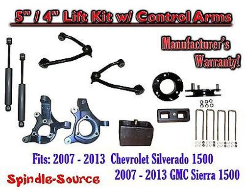 "2007 - 13 Chevy Silverado GMC Sierra 5"" / 4"" Spindle Lift Control Arms Shocks"