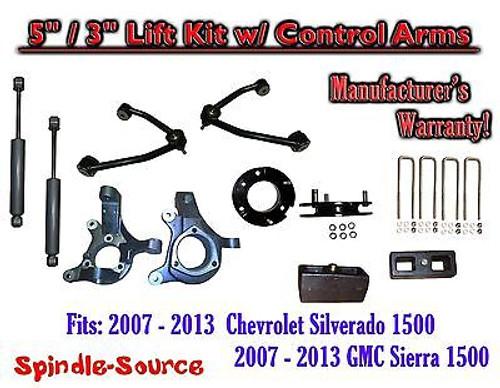 "2007 - 13 Chevy Silverado GMC Sierra 5"" / 3"" Spindle Lift Control Arms Shocks"
