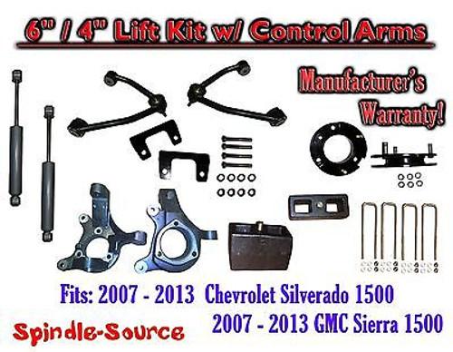 "2007 - 13 Chevy Silverado GMC Sierra 6"" / 4"" Spindle Lift Control Arms + SHOCKS"