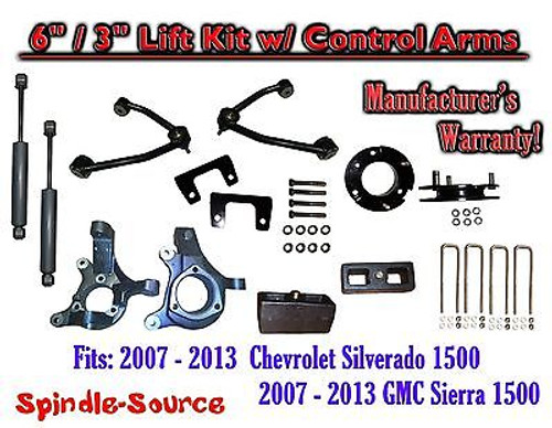 "2007 - 13 Chevy Silverado GMC Sierra 6"" / 3"" Spindle Lift Control Arms + SHOCKS"