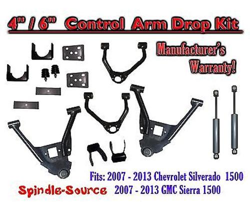 "2007 - 13 Chevy Silverado GMC Sierra 4/6"" Lowering Drop CONTROL ARMS KIT +SHOCKS"