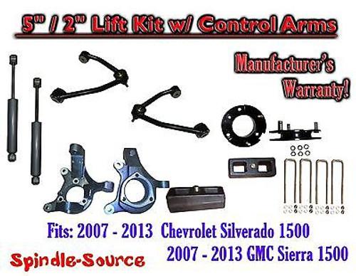 "2007 - 13 Chevy Silverado GMC Sierra 5"" / 2"" Spindle Lift Control Arms Shocks"
