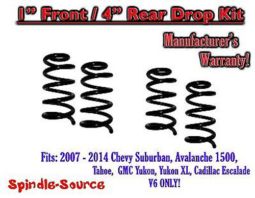 """2007 - 14 Drop Lowering Kit Chevrolet GMC 1500 SUV's 1"""" Front / 4"""" Rear V6 ONLY"""