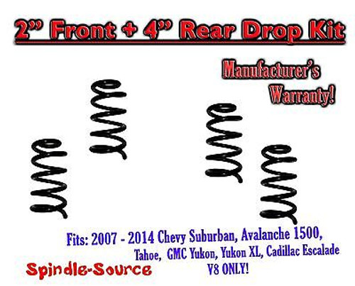 """2007 - 14 Drop Lowering Kit Chevrolet GMC 1500 SUV's 2"""" Front / 4"""" Rear V8 ONLY"""