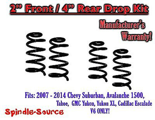 """2007 - 14 Drop Lowering Kit Chevrolet GMC 1500 SUV's 2"""" Front / 4"""" Rear V6 ONLY"""