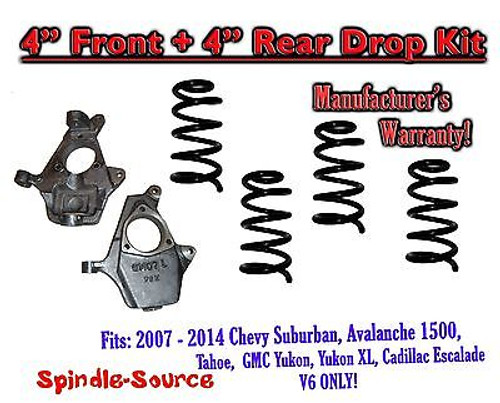 """2007 - 14 Drop Lowering Kit Chevrolet GMC 1500 SUV's 4"""" Front / 4"""" Rear V6 ONLY"""