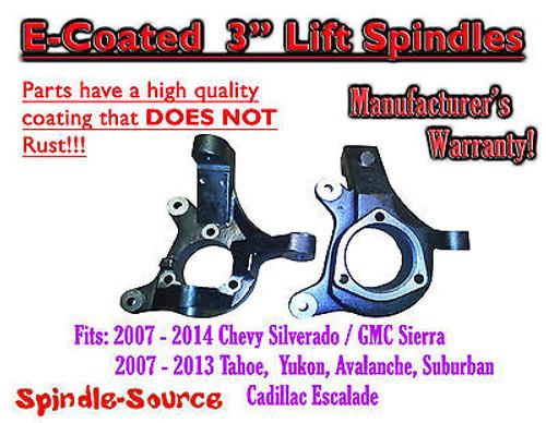 "2007 - 16 GM 1500 TRUCK SUV 2WD 3"" Lift Spindles Silverado Sierra E-COAT NO RUST"
