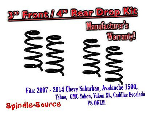 """2007 - 14 Drop Lowering Kit Chevrolet GMC 1500 SUV's 3"""" Front / 4"""" Rear V8 ONLY"""