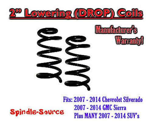"2007 - 14 Chevrolet GMC Silverado Sierra 1500 Front 2"" Drop Lowering Coils V6"