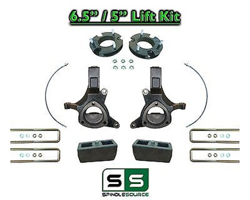 "2007 - 17 Chevy Silverado GMC Sierra 1500 6.5"" / 5"" Spindle FULL LIFT KIT 2WD"