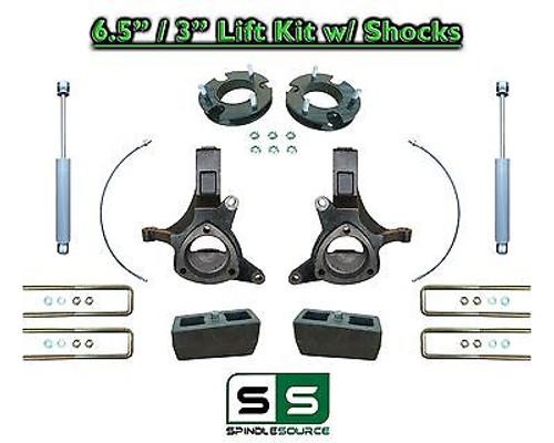 "2007 - 17 Chevy Silverado GMC Sierra 1500 6.5"" / 3"" Spindle LIFT KIT 2WD SHOCKS"