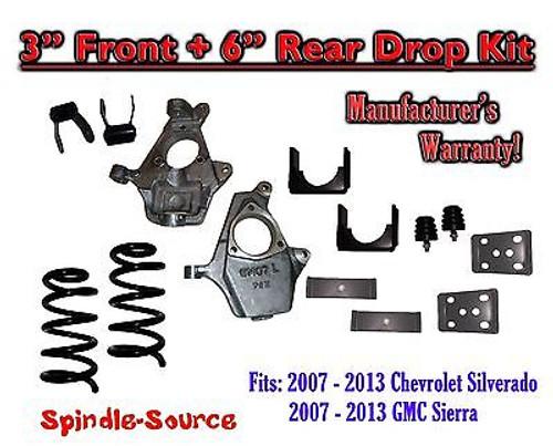 "2007 - 2013 Chevrolet Silverado / GMC Sierra 1500 V6 3"" / 6"" Lowering Drop kit"