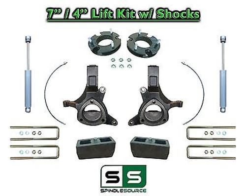 "2007 - 17 Chevy Silverado GMC Sierra 1500 7"" / 4"" Spindle LIFT KIT 2WD SHOCKS"