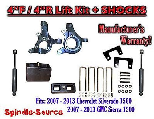 "2007 - 2013 Chevy Silverado GMC Sierra 1500 4"" / 4"" Spindle LIFT KIT + SHOCKS"