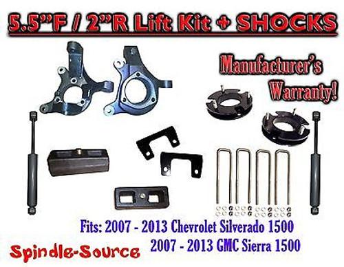 "2007 - 2013 Chevy Silverado GMC Sierra 1500 5.5"" / 2"" Spindle LIFT KIT + SHOCKS"