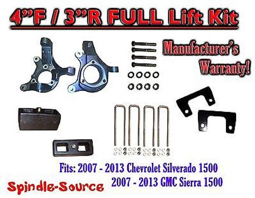 "2007 - 2013 Chevy Silverado GMC Sierra 1500 4"" inch / 3"" Spindle LIFT KIT 2WD"