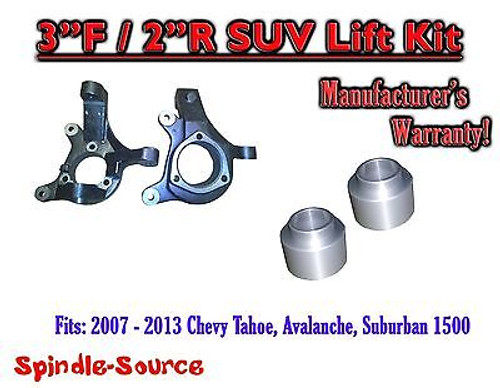 """2007 - 2013 Chevrolet Suburban Tahoe Avalanche 1500 2WD 3"""" / 2"""" Lift Kit Spindle"""