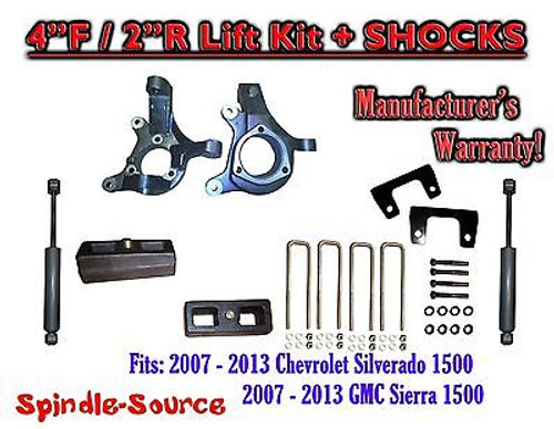 "2007 - 2013 Chevy Silverado GMC Sierra 1500 4"" / 2"" Spindle LIFT KIT + SHOCKS"