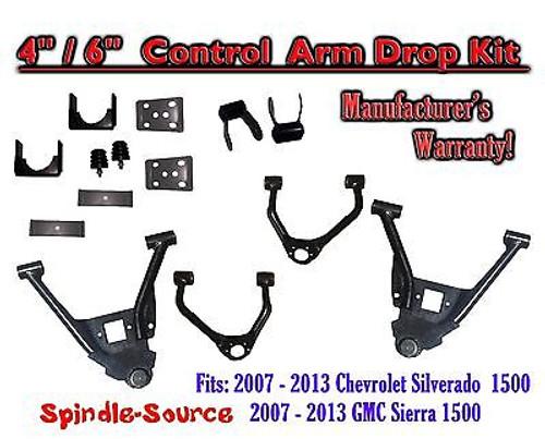 "2007 - 2013 Chevy Silverado 1500 GMC Sierra 4""/6"" Lowering Drop CONTROL ARMS KIT"