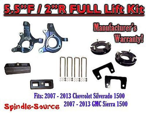 "2007 - 2013 Chevy Silverado GMC Sierra 1500 5.5"" / 2"" Spindle LIFT KIT 2WD"