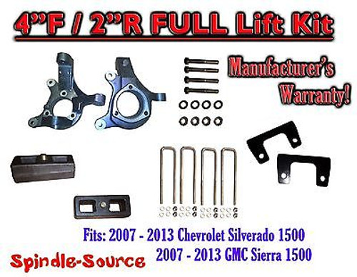 "2007 - 2013 Chevy Silverado GMC Sierra 1500 4"" inch / 2"" Spindle LIFT KIT 2WD"
