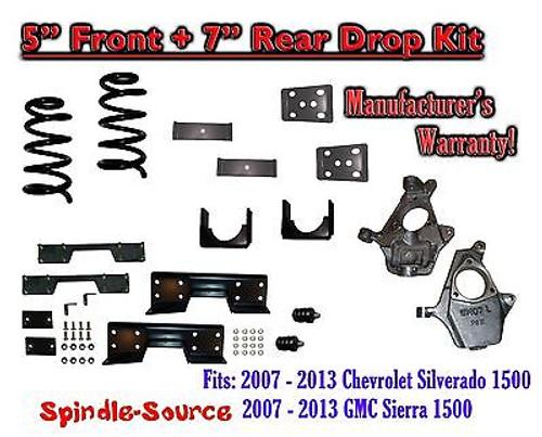 "2007 - 2013 Chevy Silverado / GMC Sierra 1500 5"" / 7"" Drop Lower Kit + C-NOTCH"