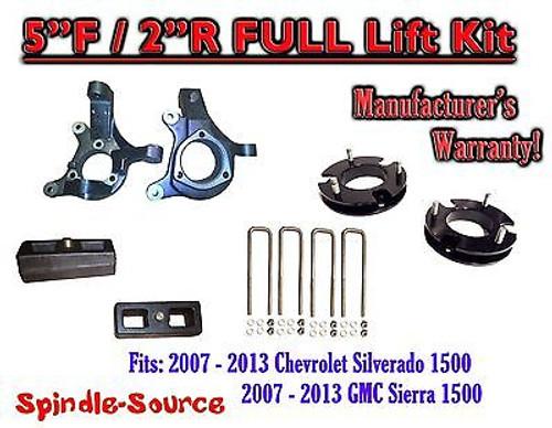 "2007 - 2013 Chevy Silverado GMC Sierra 1500 5"" inch / 2"" Spindle LIFT KIT 2WD"