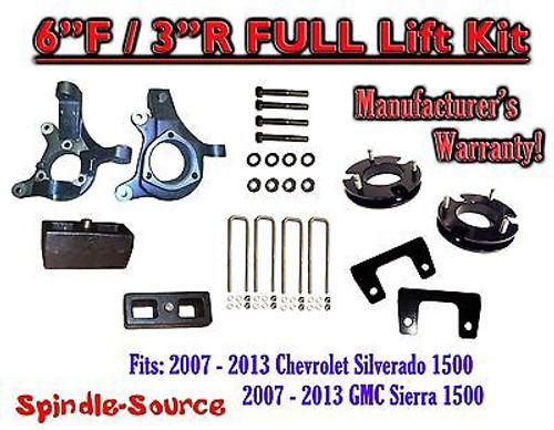 "2007 - 2013 Chevy Silverado GMC Sierra 1500 6"" / 3"" Spindle FULL LIFT KIT 2WD"