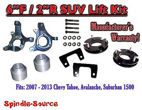 """2007 - 2013 Chevy Suburban Tahoe Avalanche 1500 6"""" / 2"""" Lift Kit Spindle 07-13"""