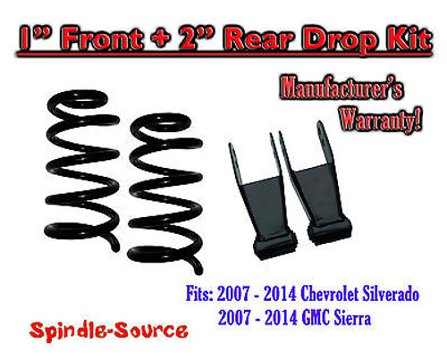"2007 - 2014 Chevrolet Silverado / GMC Sierra 1500 V6 1"" / 2"" Lowering Drop kit"