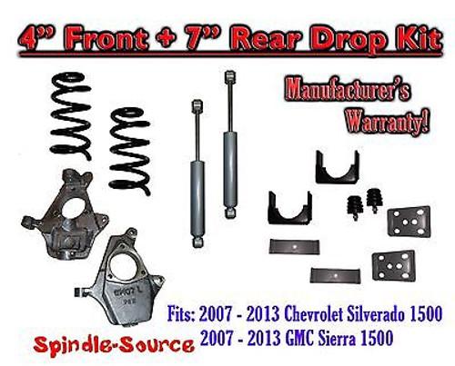 "2007 - 2013 Chevy Silverado GMC Sierra 1500 V8 4"" / 7"" Drop Lowering Kit SHOCKS"