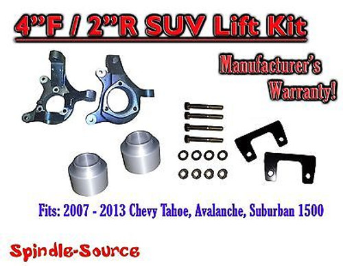 """2007 - 2013 Chevy Suburban Tahoe Avalanche 1500 4"""" / 2"""" Lift Kit Spindle 07-13"""