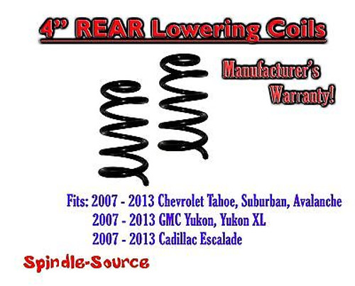 """2007 - 2014 Chevy GMC SUV 4"""" Drop Lowering Coils Springs Yukon Avalanche + MORE"""