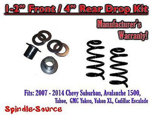 "2007 - 2014 Drop Lowering Kit Chevrolet GMC 1500 SUV's 1""-2"" Front / 4"" Rear"